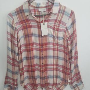 Lucky Brand Plaid Button Down Shirt Tails Top XS